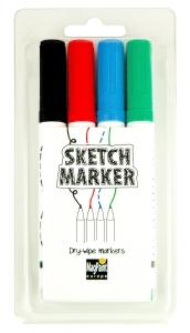 SketchMarker Markierstifte-Set | Whiteboard-Marker, Set mit 4 Stiften | trocken abwischbar